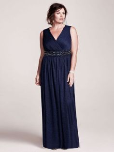 18a31996d98 Plus Size Long Glitter Jersey Mother of Bride Groom Dress with Beaded Waist  - Navy (Blue)