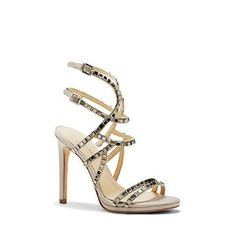 """Imagine Vince Camuto Gem – Square Rhinestone-detailed Heel-The only danger of the Gem is how obsessed you might become. Winding straps of satin fixed with square-cut rhinestones twirl up to your lower calf for footwear fireworks. Add a sparkling clutch and a fit-and-flare dress for an effervescent look.    <li> 4.5"""" heel <li> Fabric upper, man-made lining, leather sole <li> Imported"""
