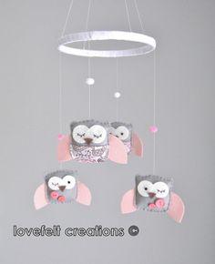 Baby Crib Mobile  Baby Mobile  Owl Mobile  Pink by LoveFeltXoXo, $82.00