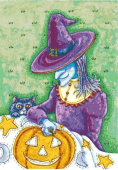 A Witch Sewing on a Pumpkin ~ Halloween ~ Counted Cross Stitch Pattern #StoneyKnobFarmHeirlooms