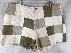 Zana Di Jeans Patchwork Shorts Shades of Brown Size 22 100% Cotton #ZanaDi #Denim