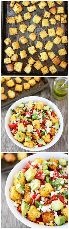 Jalapeño Cornbread Panzanella Salad Recipe on twopeasandtheirpod.com. Love this fresh and flavorful salad!