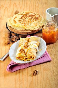 Recept na pohankové palačinky s džemem z černého rybízu Paleo, Ethnic Recipes, Food, Diet, Eten, Beach Wrap, Meals