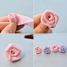 Satin Ribbon Flower Hair Barrette - With satin ribbons and some glass pearl beads, a hair barrette can be easily made in 6 minutes. Roses En Ruban Satin, Satin Ribbon Flowers, Cloth Flowers, Ribbon Hair Bows, Diy Hair Bows, Diy Ribbon, Ribbon Work, Ribbon Crafts, Fabric Flowers