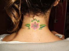Hibiscus Tattoo on the Neck