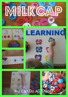 we can do all things- Learning with milk caps by billie Toddler Fun, Toddler Learning, Fun Learning, Toddler Activities, Preschool Curriculum, Classroom Activities, Preschool Activities, Homeschooling, Kindergarten