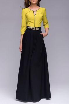 Color Blcok Keyhole Neckline 3/4 Sleeve Dress