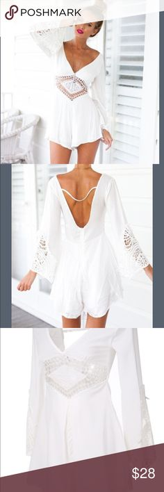 Deep V Neck Shorts Jumpsuit Backless... Sexy...Polyester & Lace... Zipper Back...High Waist...Hand Wash or Dry Clean Pants Jumpsuits & Rompers