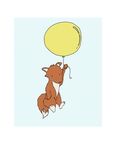 Woodland Fox Nursery Fox Balloon Fox Art by SweetMelodyDesigns, $10.00