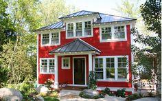 red, white, brown door