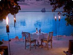 Romantic Blue Sea night beach ocean tropical sea romantic dine
