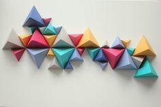 Escultura de triângulos (em dobradura) - muito simples, barata e lindo efeito! Sculpture de triangle – Sunrise Over Sea