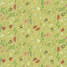 Bees and greenery. The Painted Meadow Bee's Sprig Fabric is by Robin Pickens. It has a floral and bee print on a green background. Let's get quilting! Bee Fabric, Floral Fabric, Floral Prints, Material World, Block Of The Month, Green Backgrounds, Quilt Top, Fabric Painting, Robin