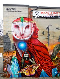 """""""Diamonds of Extinction"""" Detail. By the Clandestinos (Shalak & Smoky), 20ft x 55ft, 76 Geary Ave, Toronto, Canada, Spring 2014"""