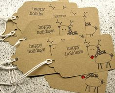 Items similar to Reindeer Holiday Gift Tags - Brown Kraft - Set of 8 - Christmas on Etsy Christmas Makes, Christmas Deco, Holiday Gift Tags, Idee Diy, Christmas Wrapping, Card Tags, Christmas Crafts, Paper Crafts, Red Nose