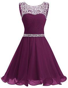 Dresstells® Short Chiffon Open Back Prom Dress With Beading Homecoming Dress Grape Size 14