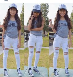 ♡M o n i q u e.M  I like the outfit minus the rips in her jeans..that's a bit too much for her age. She's still just a young girl, tween at most.