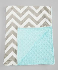 Tiffany Blue & Silver Zigzag Stroller Blanket.