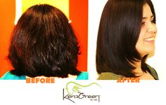Gorgeous KeraGreen Before & After (4 days) - We love smooth, healthy hair from safe Keratin Treatments!