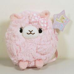 """AMUSE Alpacasso Alpaca Cute Plush Purse Coin Bag 12cm 5"""" BJD Doll Pink"""