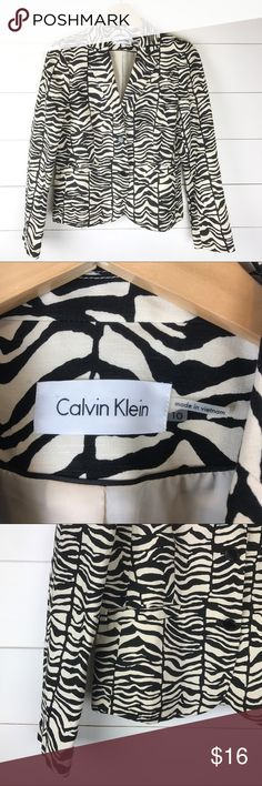 """Calvin Klein Zebra Blazer Jacket Linen Blend Lined Gorgeous Calvin Klein blazer in a updated crisp white and black zebra print.  Size 10 with long sleeves and lined.  MEASUREMENTS  Underarm to Underarm 20""""  Underarm to End of Sleeve 18""""  Length 24""""   A5 Calvin Klein Jackets & Coats Blazers"""