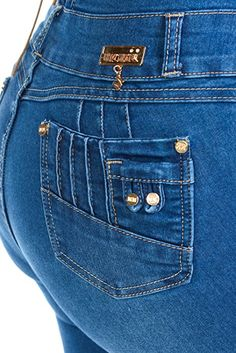 Fashion2Love Y1922 - Colombian Design, Butt Lift, Levanta Cola, High Waist, Skinny Jeans In M. Blue Size 15 (ML1) at Amazon Women's Jeans store