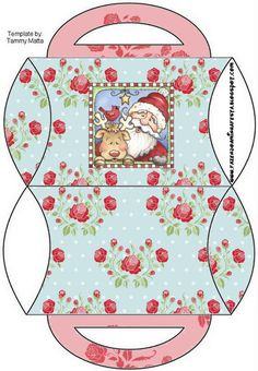 Shabby Chic with Red Roses in Light Blue: Free Printable Boxes Christmas Gift Box, Noel Christmas, Christmas Crafts, Christmas Templates, Christmas Printables, Printable Box, Free Printables, Paper Box Template, Theme Noel