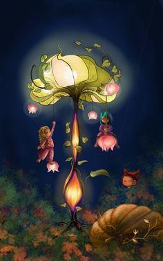"Illustration enfant de Sabrina Tanase collection ""Children of the Wood "" Automne féerique  Automne fairy tale  Flower light www.sabrinatanase-art.ch"