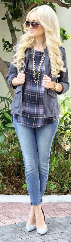 Blue Multi Plaid Blouse by A spoonful of Style
