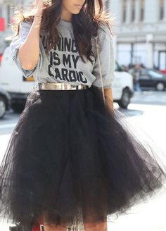 Tulle skirt and print tee from necessary clothing