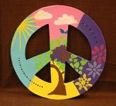 Paper Mache Peace Sign painted with stencils.