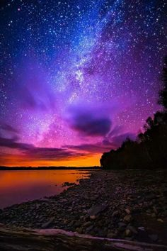 Sunset and time-lapse stars, Spencer Bay