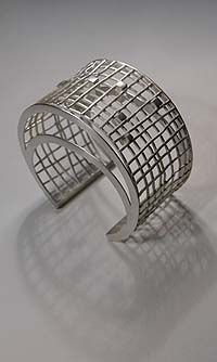 "Cuff bracelet   Fabiana Gadano. ""Virtual Space"". Sterling Silver."
