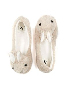 Grey Rabbit Fluffy Slippers |