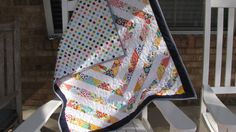 Expanding Squares Baby Quilt Blanket by BabyQuiltsByVanessa