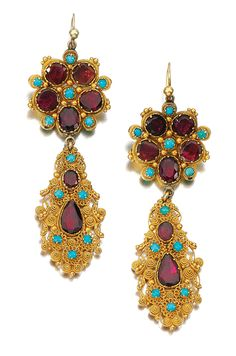 PAIR OF GOLD AND GEM SET PENDENT EARRINGS, CIRCA 1825, COMPOSITE.  Each suspending a pendant composed of fine cannetille work, highlighted throughout with circular-cut and pear-shaped foiled back garnets and cabochon turquoises.