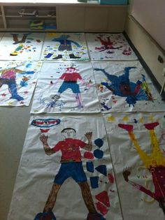 """All About Me project!  1. Trace each student's body on giant white paper.  2. Have an """"All About Me"""" party and invite their parents/guardians/family members to come visit.  3.  Clear space in the classroom, Spread out papers on the floor.  3.  Lay out all arts and crafts supplies and allow everybody to help their child color/design their self-portrait.  (ex. paint, ribbon, stamps, foam letter stickers, markers, yarn, etc.)"""