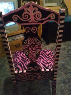 pink and black zebra chair back