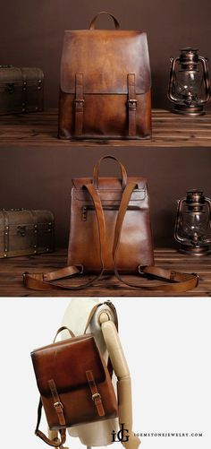 e482a867a16ed Vintage Womens Brown Leather Backpack Purse Cool Backpacks for Women