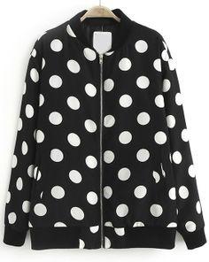 Black Stand Collar Long Sleeve Polka Dot Jacket US$33.44