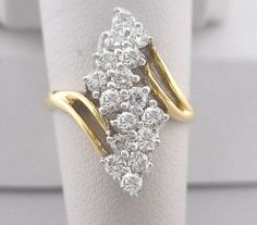 Gold Diamond Ring 1 ct Total Waterfall Cascade Style in Solid 14K Gold by americanjewelryco, $990.00