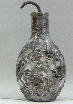 Antique RARE Japanese 925 Sterling Silver Cherry Blossom Overlay Perfume Bottle | eBay