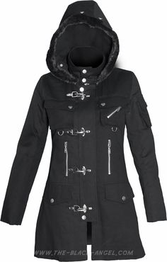 Gothic jacket for women, with hood and metal hook details, by Queen of Darkness.