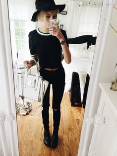 hello pretty people  so this is my outfit today: urban high waisted skinnies (diy rips), forever 21 crop top & black hat, topshop month chelsea's, lord & taylor bag, marc jacobs watch  love you & hope you have a great day!