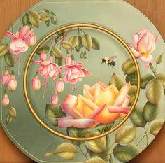 """Fuschia Fantasy Plate """"Southgate"""" by Deanne Fortnam http://www.deanneart.com"""