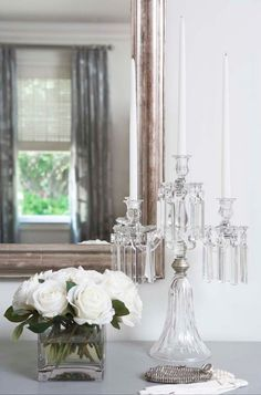 Suzie: Linda McDougald Design - Vignette with crystal candelabra, white roses and Eloquence . French Interior, French Decor, French Country Decorating, Chandeliers, Crystal Candelabra, Paris Home, Luxury Interior Design, Home Accents, French Antiques
