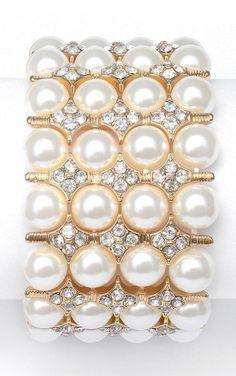 Bracelet manchette 4rangs perles ivoire et gold strech