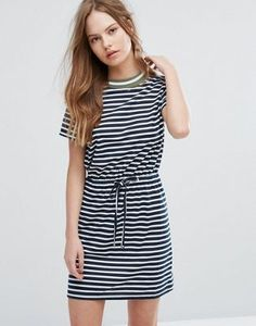 Heartbreak Stripe T-Shirt Dress With Drawstring Waist