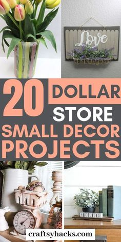 These dollar store home decor projects are truly nice. They're cheap to make, look amazing and you'll definitely have fun diy'ing them. # DIY Home Decor projects 20 Dollar Store Home Décor Projects Dollar Tree Decor, Dollar Tree Crafts, Dollar Tree Finds, Dollar Tree Store, Diy Home Decor Rustic, Cheap Home Decor, Farmhouse Decor, Thrifty Decor, Farmhouse Style