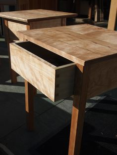 Cherry wood side table I made in the foreground. All hand tool joinery.  No sanding.  Tung oil finish. #woodworking #joinery #handtool #tool #chest #carpentry #traditional #cherry #table